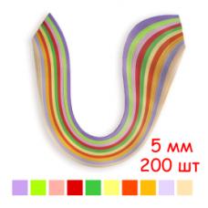 Набор полосок бумаги для квиллинга, 10 цветов, 5х295 мм, 80 г/м2, 200 шт. /QP-80-209-05/ 107209 - TM VAOSTUDIO