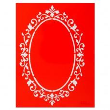 """Трафарет - """"Ажурная рамка (овал)"""", 14,5х19 см /066/ 115066"""
