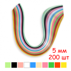 Набор полосок бумаги для квиллинга, 10 цветов, 5х295 мм, 80 г/м2, 200 шт. /QP-80-208-05/ 107208 - TM VAOSTUDIO