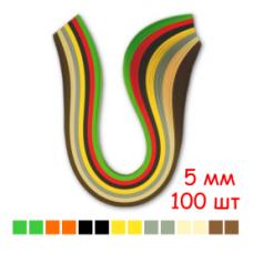 Набор полосок бумаги для квиллинга, 7 цветов, 5х295 мм, 160 г/м2, 100 шт. /QP-160-211-05/ 107211 - TM VAOSTUDIO