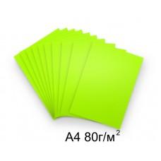 Бумага А4 80г/м2 зеленая (неон),1 лист /114591