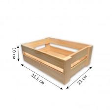 Деревянный ящик для хранения. Размеры - 31,5 х 21 х 10 см.